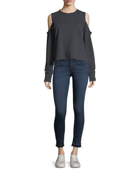 High-Rise Skinny Ankle Jeans w/ Released Hem