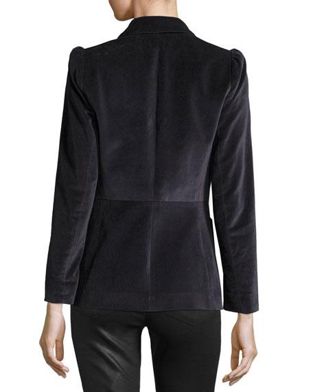 Single-Button Stretch-Velvet Blazer
