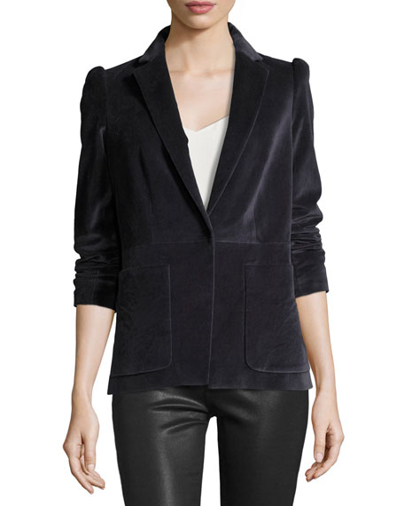 Single-Button Stretch-Velvet Blazer