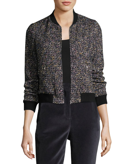 Multi-Tweed Long-Sleeve Bomber Jacket