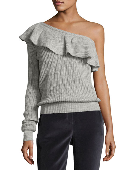 One-Shoulder Alpaca Knit Pullover Sweater