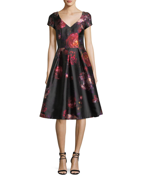 David Meister Short-Sleeve Floral-Brocade Cocktail Dress w/