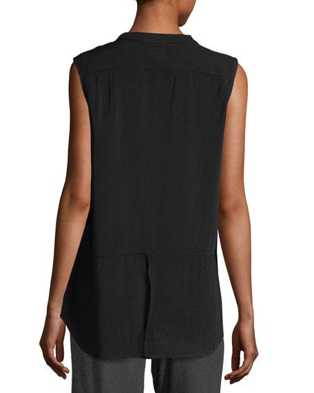 Mandarin-Collar Sleeveless Shirt