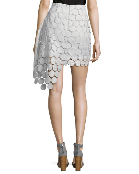 Spectrum Lace Asymmetric Mini Skirt