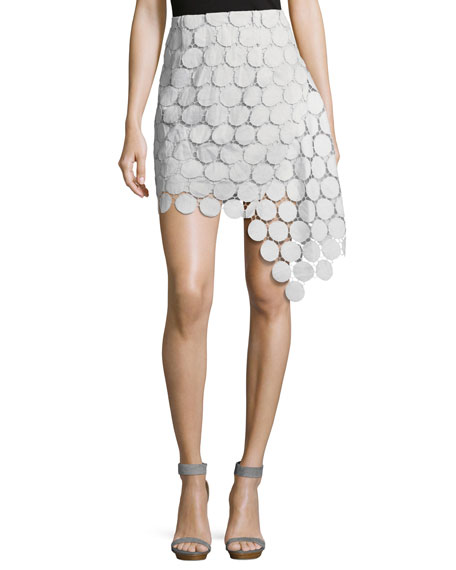 Spectrum Lace Asymmetric Mini Skirt