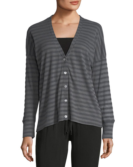 Striped Knit Button-Front Cardigan