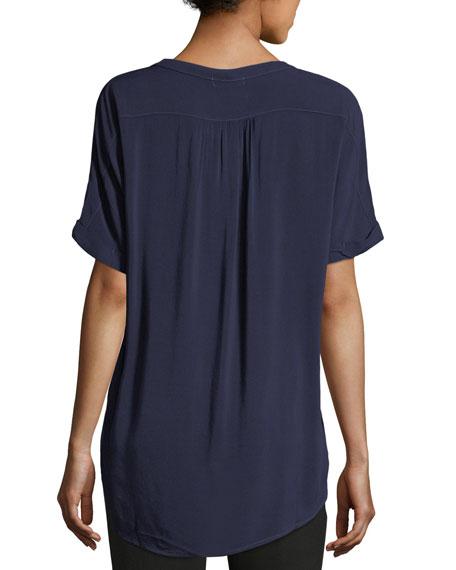 Tab-Collar Short-Sleeve Henley Shirt