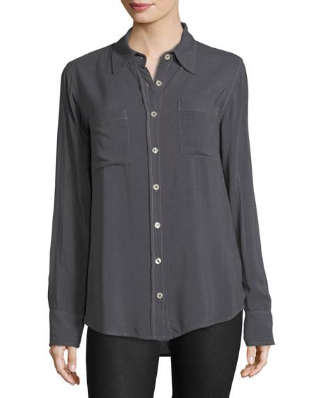 Two-Pocket Button-Front Boyfriend Shirt