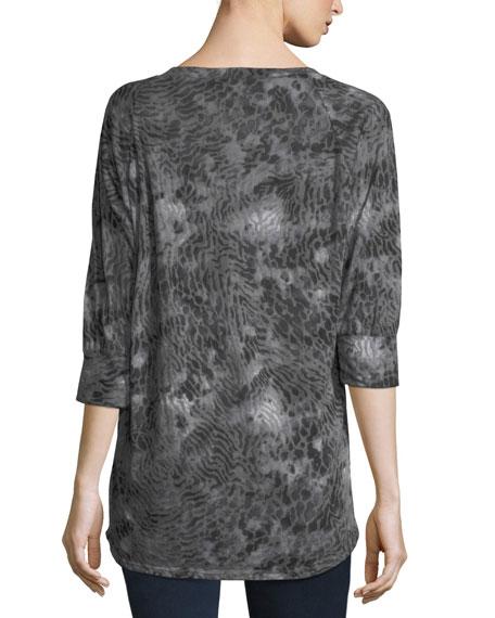 3/4-Sleeve Graphic Henley Tee