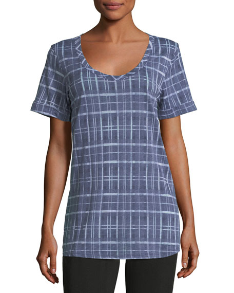 Short-Sleeve Plaid Tee