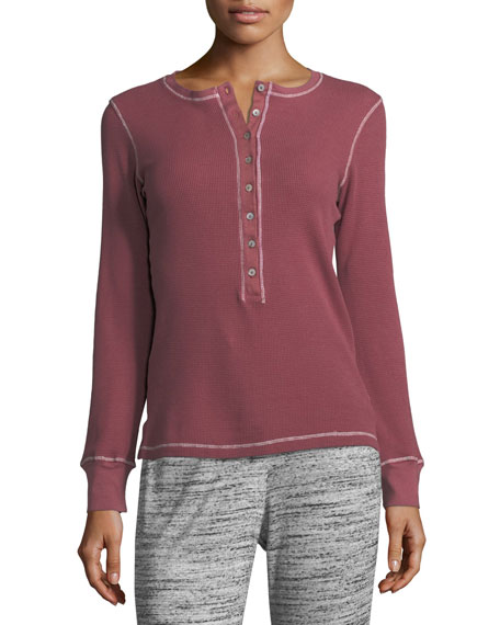Long-Sleeve Boyfriend Henley Top