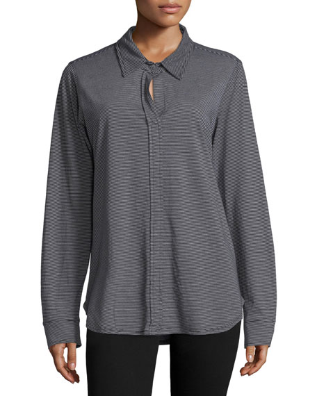 Mock-Button Long-Sleeve Shirt