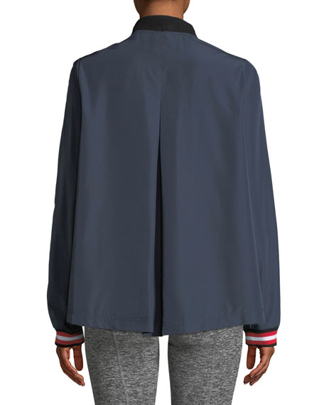 Indigo Ash Zip-Front Woven Jacket