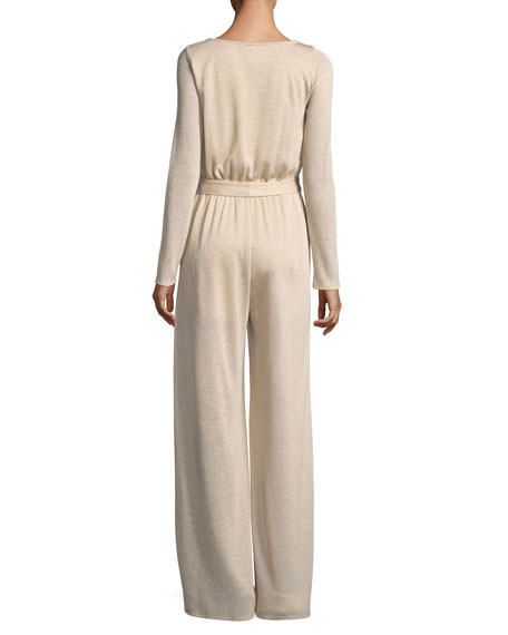 Lurex Sweater-Knit Wide-Leg Jumpsuit, Plus Size