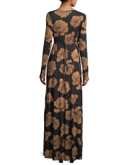 Long-Sleeve Full-Length Caftan Dress