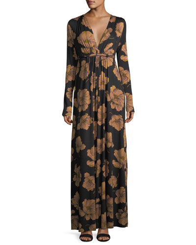 Long-Sleeve Full-Length Caftan Dress
