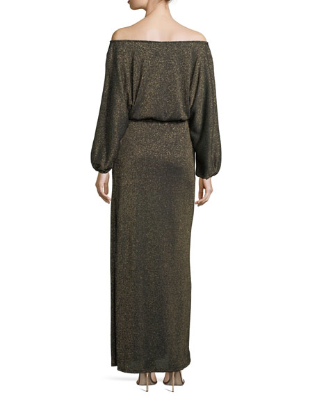 Seaton Off-the-Shoulder Lurex Long Sweaterdress