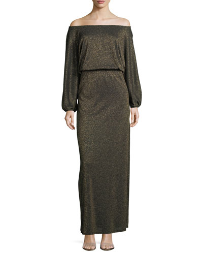Seaton Off-the-Shoulder Lurex Long Sweaterdress, Plus Size
