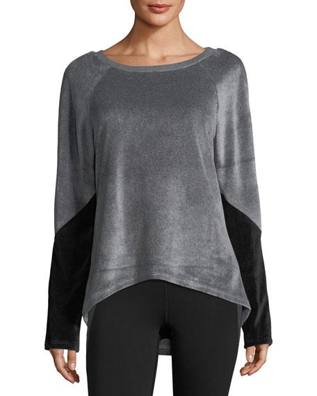 Heroine Sport Volt Round-Neck Velour Sweatshirt