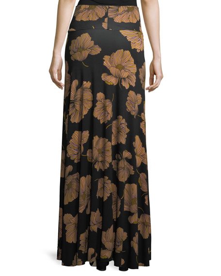 Long Printed Full Skirt, Matilija, Plus Size