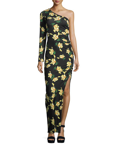 Fontaine Floral-Print One-Shoulder Dress