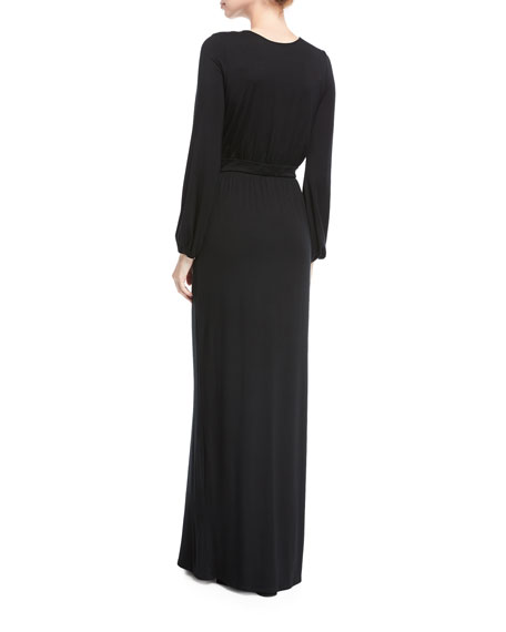 Clairah Long-Sleeve Side-Slit Maxi Dress
