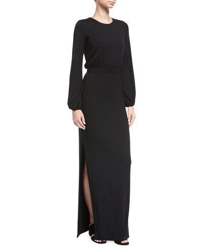 Clairah Long-Sleeve Side-Slit Maxi Dress, Plus Size