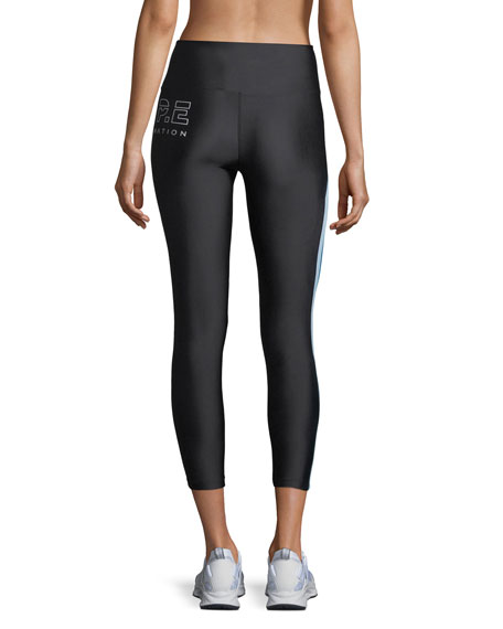 Set Position Side-Stripe Mid-Rise 7/8 Performance Leggings