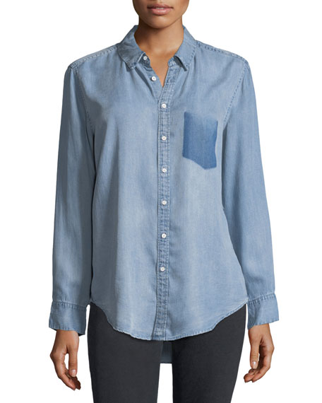 Nassau Manhattan Button-Front Mid-Wash Chambray Shirt