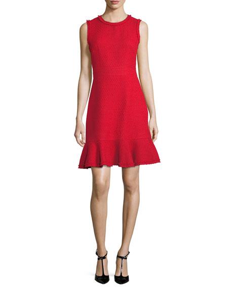 sleeveless tweed day dress