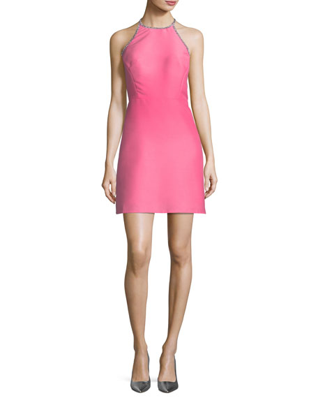 kate spade new york embellished a-line halter dress