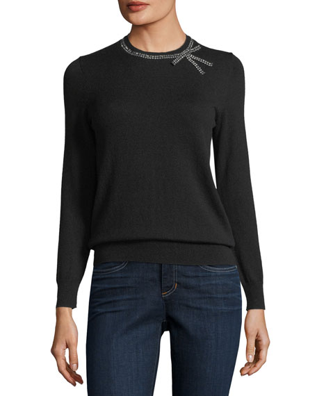 bow embellished crewneck wool-blend sweater