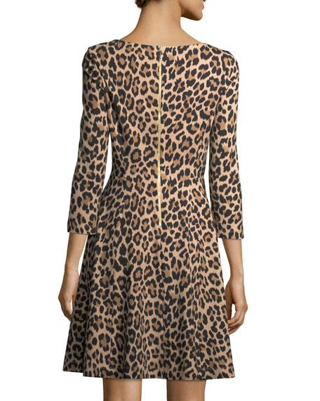 leopard-print 3/4-sleeve a-line ponte dress