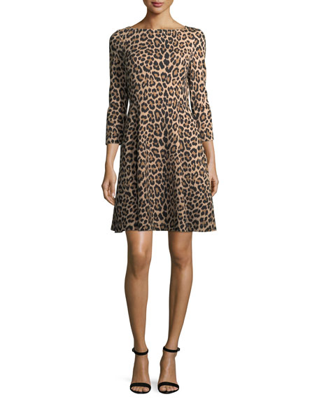 leopard-print 3/4-sleeve a-line ponte dress