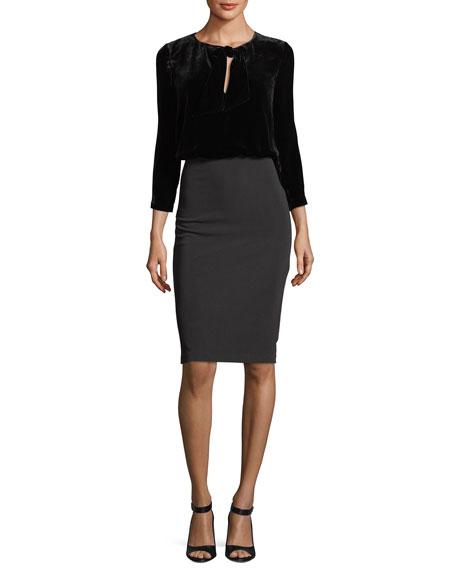 Badgley Mischka Long-Sleeve Velvet Blouson Crepe Skirt Cocktail