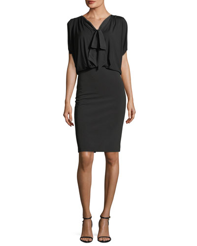 Drop-Top Cowl-Back Midi Dress