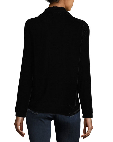 Dalil Long-Sleeve Velvet Top