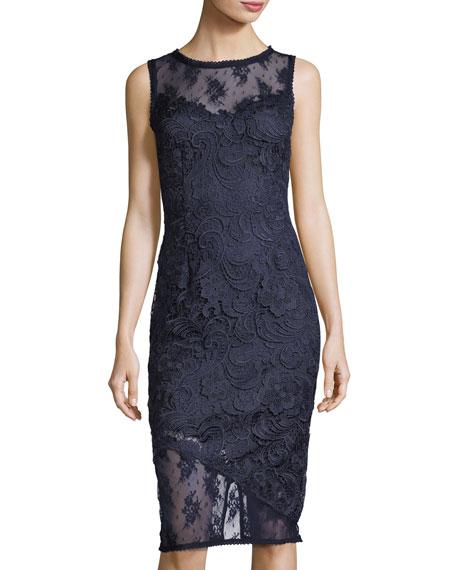 Floral-Lace Sheath Dress