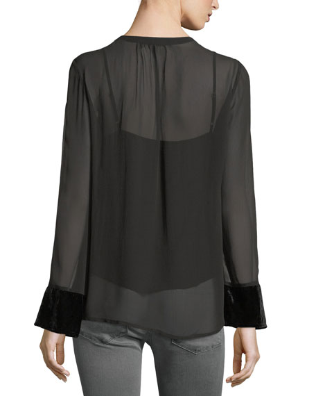 Becky Split-Neck Long-Sleeve Chiffon Top