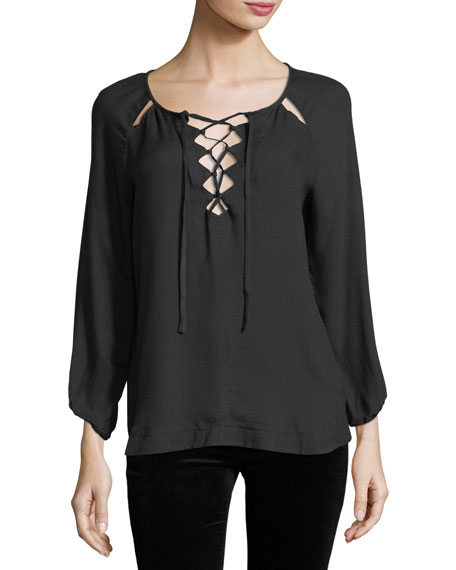 Ella Moss Stella Lace-Up Long-Sleeve Blouse