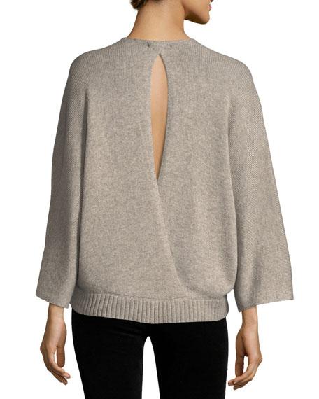 Leah Long-Sleeve Surplice Wool-Blend Top