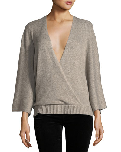Leah Long-Sleeve Surplice Wool-Blend Top
