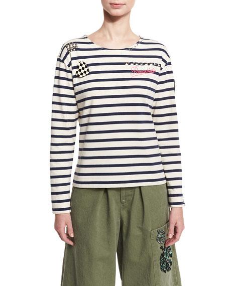 Marc Jacobs Embellished Striped Long-Sleeve Tee, Ecru/Navy