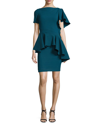 Asymmetric-Ruffle Peplum Top, Teal