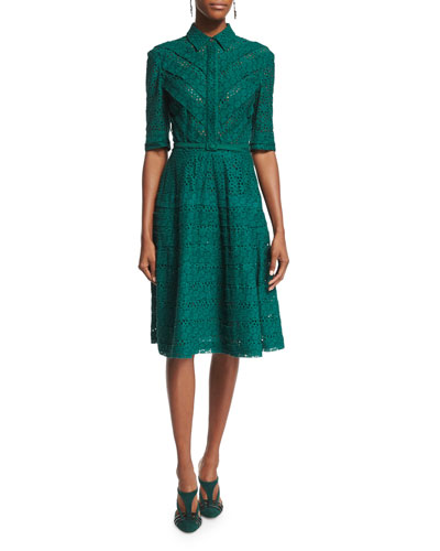 3/4-Sleeve Eyelet Shirtdress, Bottle Green
