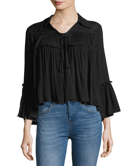 Ruffled V-Neck Flare Top