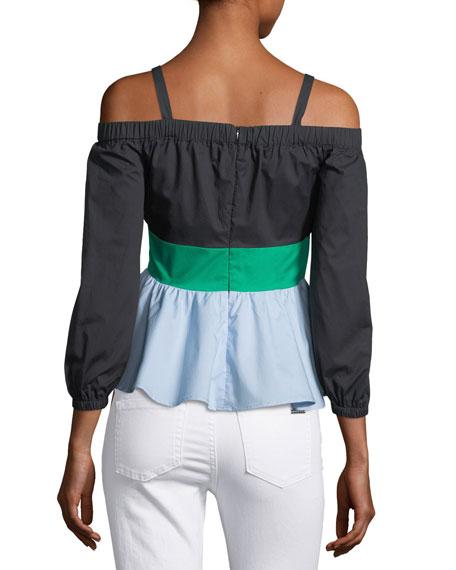 Off-the-Shoulder Colorblock Blouse