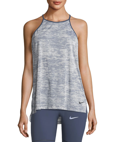 Nike Breathe T-Back Loose Training Performance Tank, Blue-Black