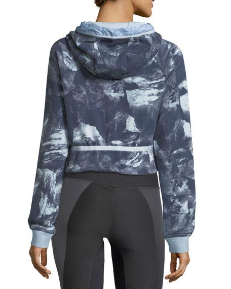 Modern Hoodie Crop Glacier-Print Sweatshirt