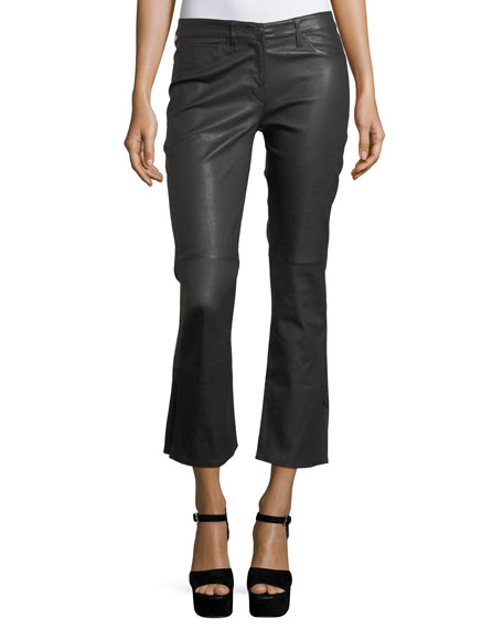 3x1 W25 Split Crop Bell Leather Pants